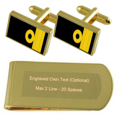 Select Gifts Royal Navy Insignia Rank Captain Cufflinks Engraved Message Box