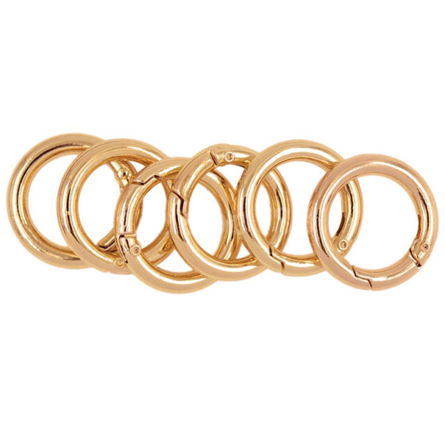 6pcs Gold Plated Alloy Round Carabiner Camping Spring Snap Clip Hook