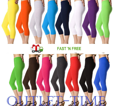 Clothing, Shoes & Accessories Audacious Ladies Leggings Cotton Capri Cropped Length High Quality Fitness Sizes Colors With Traditional Methods
