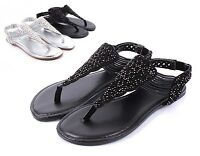Black BAMBOO Fashion Slip On T-Strap Womens Sandals Flat Dress Shoes Size 6