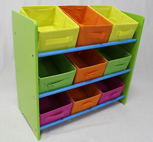 3 Tier Storage Unit with 9 Removable Fabric Bins
