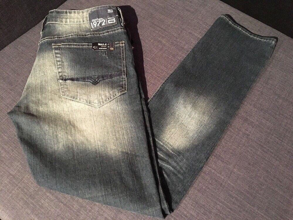 NEW Buffalo Jeans Max-X  W32 x L32 Super Skinny Stretch Cotton Blend Mens Dark