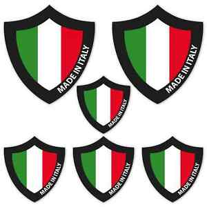 Made In Italy Shield Laminated Sticker Set Car Motorbike Scooter