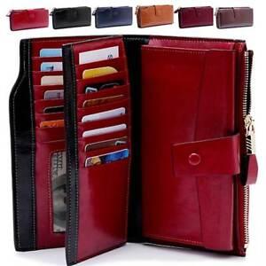 Women-Genuine-Leather-Long-Wallet-Money-Card-Holder-Clutch-Hi-Q-RFID-Blocking