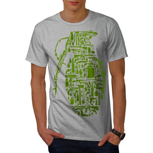 0 Graphic Design Stampato Tee Wellcoda pistola Granata GUERRA Gangster da uomo T-shirt