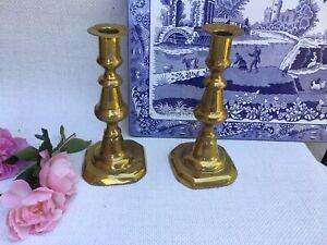 Antique-Late-Georgian-early-Victorian-BRASS-Pair-Candlesticks