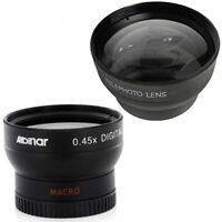 Wide + Telephoto Lens For Canon Vixia Hf10 Hf100 Hf11 Hf20 Hf200 Hg20 Hg21 Hfm30