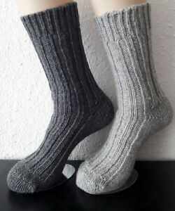2 Pair Men/'s Socks Chunky Knitted Wool Socks 92/% Wool and Alpaca Grey 39 to 46