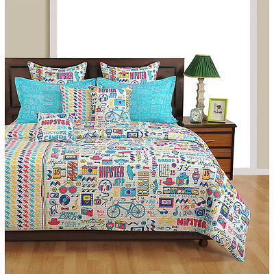Swayam Blue and White Colour Text Print Single Bed Sheet with Pillow Covers