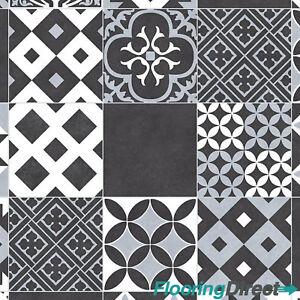 Victorian Black Tile Design Vinyl Flooring Non Slip Lino