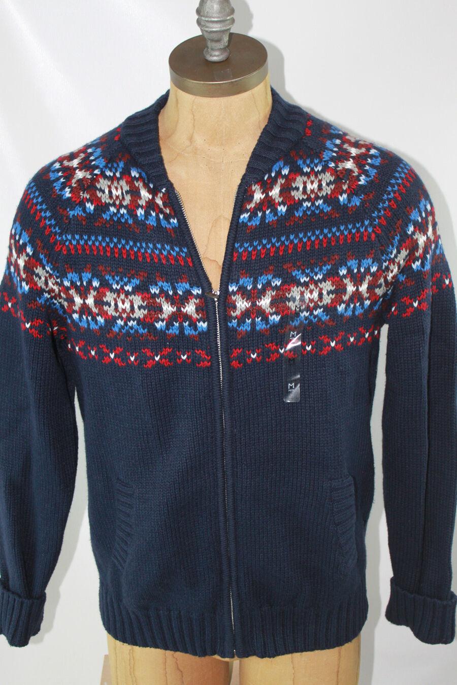 AUTH 119 Tommy Hilfiger Men Blau Full Zip Sweater L