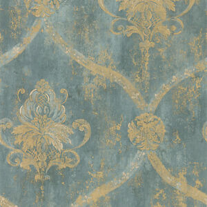 Wallpaper-SAMPLE-ONLY-12-inches-French-Faux-Aqua-Blue-Large-Damask-with-Gold