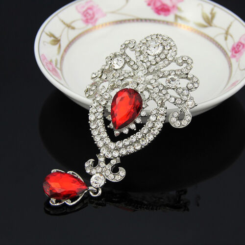 Vente chaude magnifique mariée grande cristal Broches pour Lady Strass Broche