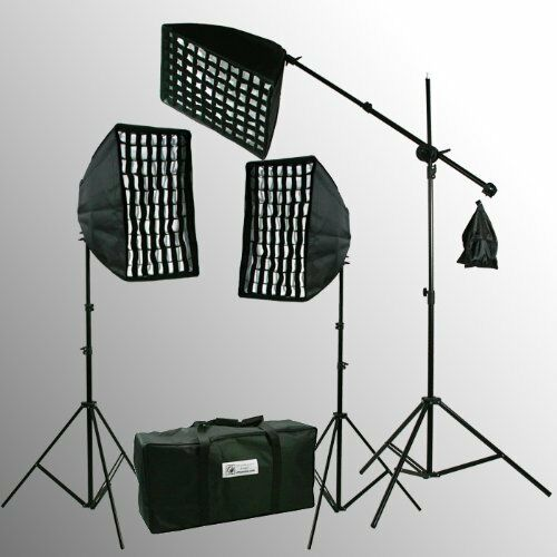 2400 W HoneyComb Grid 3 Softbox Video Photography Continuous Hair Lighting Kit