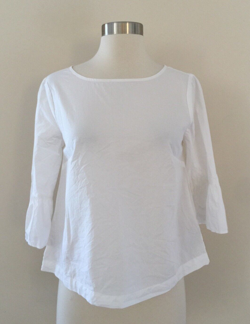 Nwt Madewell  G3233 Bell-Sleeve Popover Shirt Top Weiß Sz XS