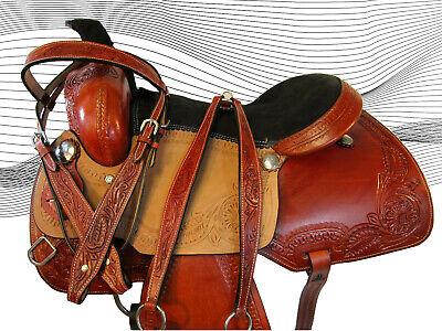 15 16 17 Trail ciselée Western en cuir Roping Selle par Cavalli Ranch saddle