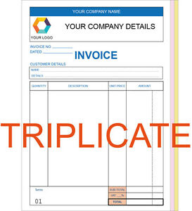 PERSONALISED TRIPLICATE A INVOICE BOOK PAD PRINT NCR RECEIPT - Invoice pads