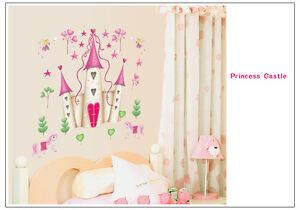 Disney-Fairy-Princess-Castle-REMOVABLE-Wall-Stickers-Pink-Girls-Room-Nursery