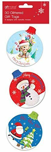 PACK OF 30 DIE CUT CUTE CHRISTMAS TAGS TFCU
