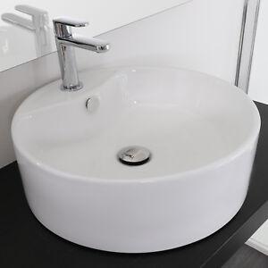 Lavabo bagno appoggio su piano bianco ceramica rotondo 46 cm ...