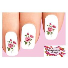 Waterslide Flower Rose Nail Decals Set of 20 - Pink Roses