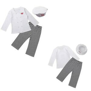Toddler-Baby-Cook-Chef-Carnival-Outfit-Party-Tops-Pants-Hat-Set-Fancy-Costume