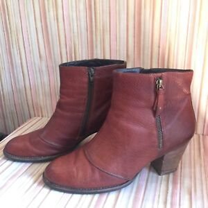 new styles 30851 d657c Details about PAUL GREEN MUNCHEN Brown Leather Zipper Ankle Boots Heels  Women Sz UK 8 US 10.5