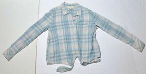 Woman's CLOTH & STONE Button Down Blouse Shirt Blue Long Sleeve Size Medium M