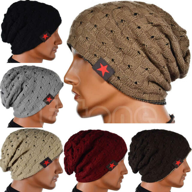 Men Winter Skull Chunky Women Knit Beanie Reversible Baggy Cap Warm Unisex Hat
