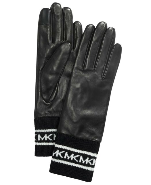 Michael Kors Sporty Black Leather Gloves Knit Trims Women's Size Medium NEW