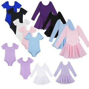 Girls-Kids-Ballet-Leotard-Gymnastics-Dance-Dress-Tutu-Skirt-Ballroom-Dancewear
