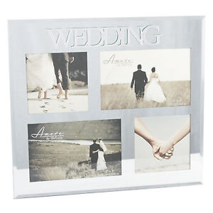 Wedding Multi Mirror Collage Photo Frame Holds 4 Photos Gift Idea