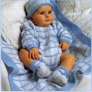 9f99b15aa472d Image is loading Knitting-pattern-in-DK-Baby-boy-bootees-romper-