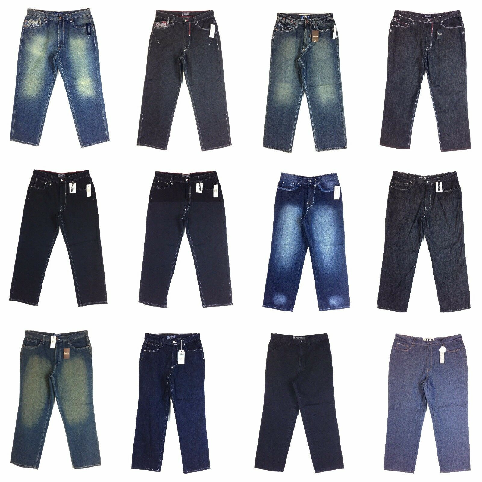Vintage Enyce Design Men's New Jean, Old school Baggy Styles Assorted, Group [7]