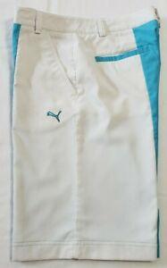 Puma-New-Wave-Colorblock-Men-039-s-Golf-Shorts-562656-Turquoise-White-Waist-32-034