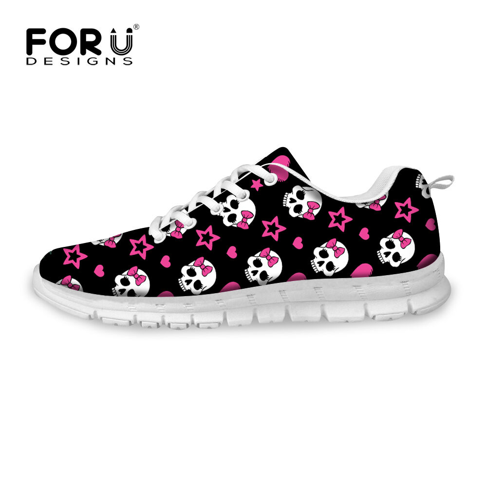 Preppy Style Skull Sneakers Womens Flats Gym Running Sport Shoes Casual Walking