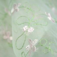 100% Organza Green Pastel Multi-color Embroidered Lace Fabric 52-53