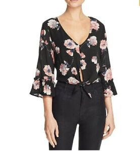 Cotton-Candy-Womens-V-Neck-Tie-Front-Crop-Blouse-Bell-Sleeves-Black-Floral-Sz-S