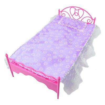Fashion Purple Mini Bed With Pillow for Barbie Dolls Dollhouse Bedroom Furniture