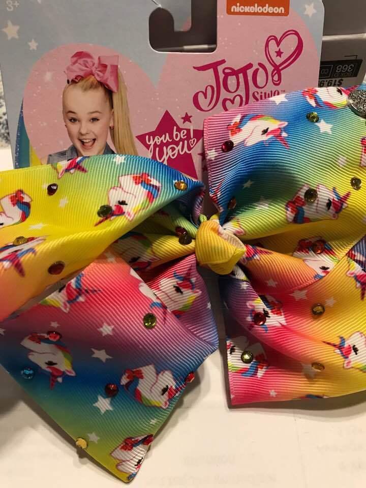 ✨ JOJO SIWA Bows Signature Rainbow Unicorn Hair Bow Large Cheerleader Brand New✨