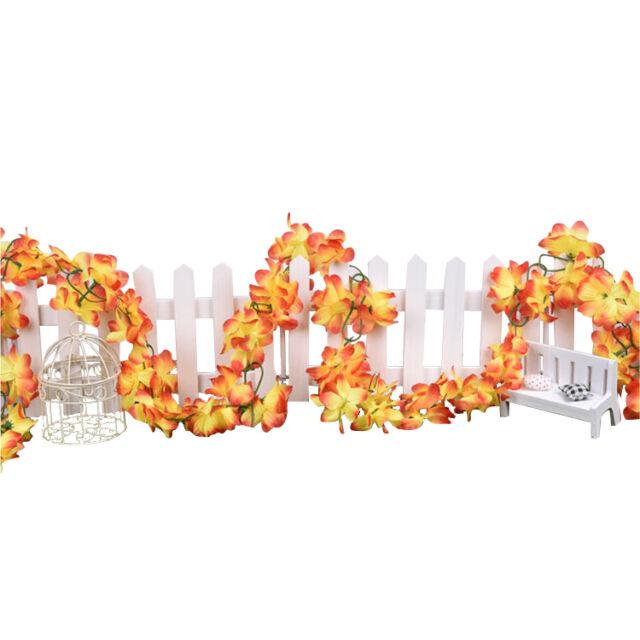 Kuenstliche Blumen Azaleen Blumengirlan Girlan Efeu orange ...