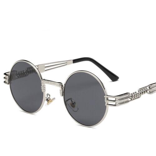 Polarized Lens Unisex Gothic Steampunk Blinder Cyber Round Goggles Sunglasses UK