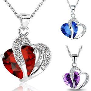Fashion-Women-Heart-Crystal-Rhinestone-Silver-Chain-Pendant-Necklace-Jewelry-HOT