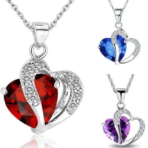 Fashion Women Heart Crystal Rhinestone Silver Chain Pendant Necklace Jewelry HOT