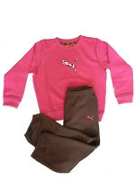 Puma Baby Girls Infants Casual Pink-brown Crew Jogger Tracksuit Set Age 12-18 M