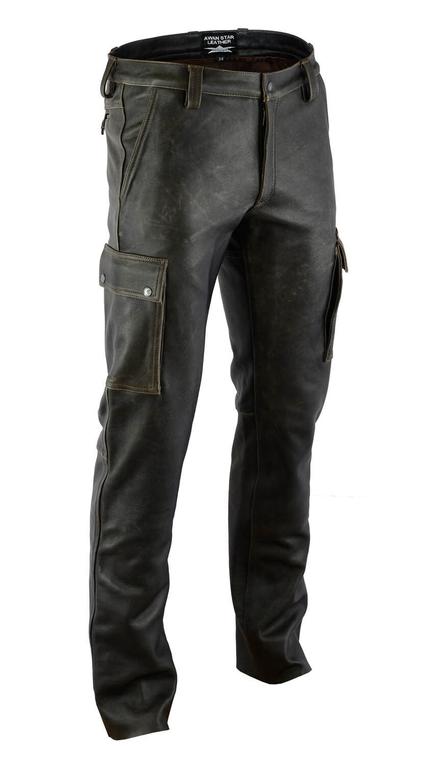 AW7910 Cargo trousers,combat vintage soft leather pants Cargo Hose,pantalon cuir