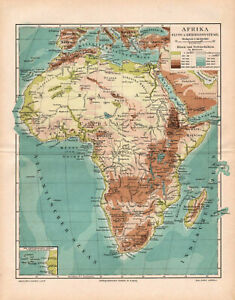 Map Of Africa Physical.Details About Antique Map Africa Physical Map Of Africa 1895