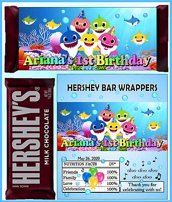 BABY SHARK PARTY FAVORS CANDY WRAPPERS LABELS