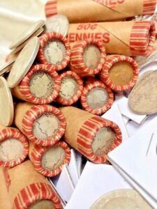 SILVER-BARBER-DIMES-ROLL-OLD-VINTAGE-WHEAT-CENTS-LINCOLN-PENNY-COIN-COLLECTIONS