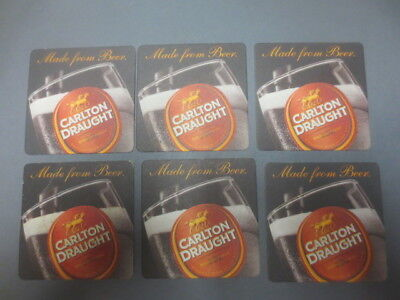 6 x  CARLTON DRAUGHT  Issue   BEER COASTERS NEW